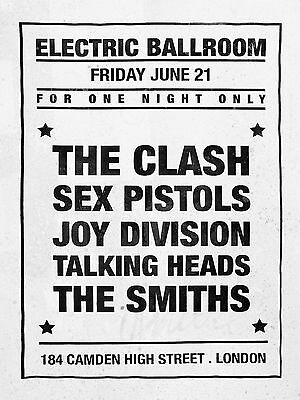 "Sex Pistols / Clash / Smiths Electric Ballroom 16"" x 12"" Photo Repro Poster"