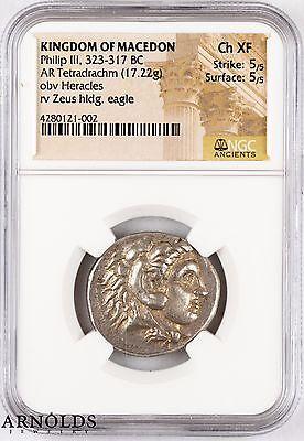 Kingdom of Macedon Tetradrachm Philip III 323-317 BC Ch. XF 5/5 5/5 NGC