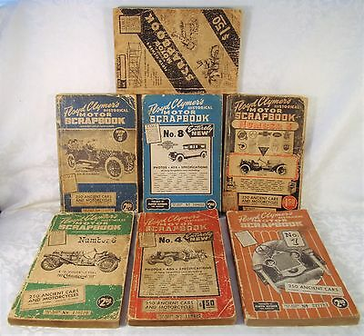 Lot of 7 -1940-50s Floyd Clymer's Historical MOTOR SCRAPBOOKS Ancient Cars Ect
