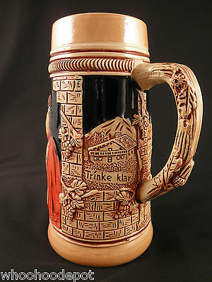German Beer Stein Mug Tankard Original King 4 Ghedina Trinke Klar Zahle Bar
