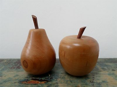 Vintage Carved,turned Wooden Apple & Pear Figurines,model Fruit