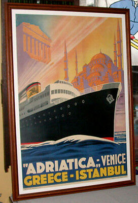 Antique Original 1930's Adriatica-Venise-Greece-Istambul Framed Travel Poster