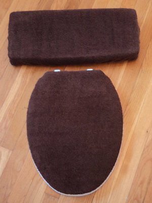 CHOCOLATE BROWN Bathroom Terry Cloth Terrycloth Toilet Seat & Tank Lid Cover Set