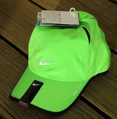 0d675a28 NWT NIKE Dri-Fit Feather Light Running Tennis Hat Cap BRIGHT YELLOW GREEN