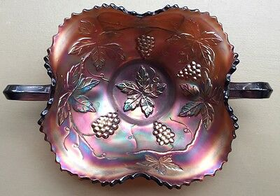 Antique Dugan Var. Grape Leaf Amethyst Radium Lustre Carnival Glass Candy Bowl
