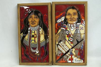 2 Cleo Teissedre Two-Tile Ceramic Composition Oak Frame Native American Couple