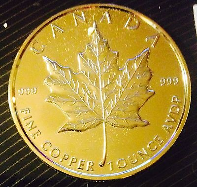 24K Gold Plated 1 Oz .999 Fine Copper Round - Canadian Maple Leaf Design