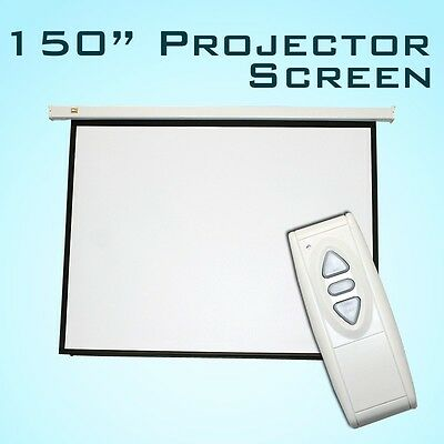 "New Motorized 150"" Electric Projector Projection Screen w/ Remote Matt 4:3 White"