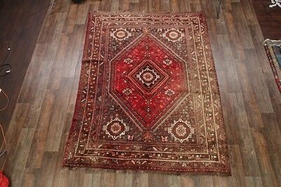 "Semi-Antique Tribal 7x10 Shiraz Persian Oriental Area Rug Carpet 9' 7"" x 7' 2"""