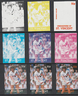 St Vincent Grens 4196 - 1987 TENNIS - Kevin Curran set of 9 PROGRESSIVE PROOFS