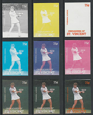 St Vincent Grens 4197 - 1987 TENNIS -Wendy Turnbull set of 9 PROGRESSIVE PROOFS