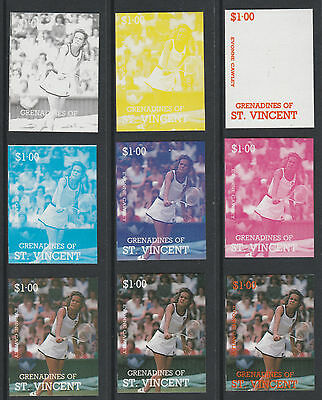 St Vincent Grens 4198 - 1987 TENNIS -Evonne Cawley set of 9 PROGRESSIVE PROOFS