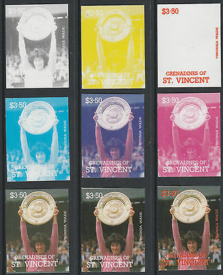 St Vincent Grens 4202 - 1987 TENNIS - Virginia Wade set of 9 PROGRESSIVE PROOFS