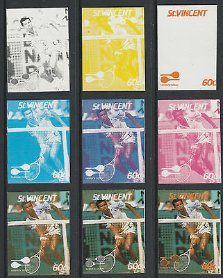 St Vincent 4204 - 1987 TENNIS - Yannick Noah set of 9 PROGRESSIVE PROOFS u/m