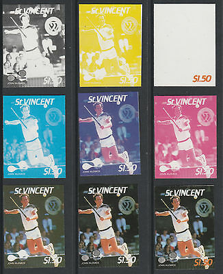 St Vincent 4205 - 1987 TENNIS - John McEnroe set of 9 PROGRESSIVE PROOFS u/m