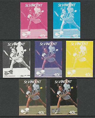 St Vincent 4209- 1987 TENNIS - Hanna Mandikova set of 7 PROGRESSIVE PROOFS u/m