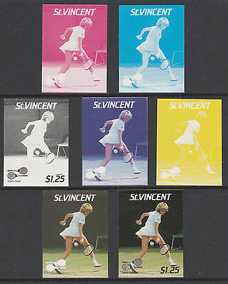 St Vincent 4210- 1987 TENNIS - Steffi Graf set of 7 PROGRESSIVE PROOFS u/m