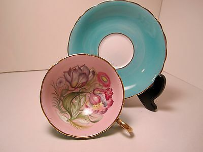 Susie Cooper Eng Bone China Tea Cup & Saucer Blue Pink Flowers Gorgeous!!!!