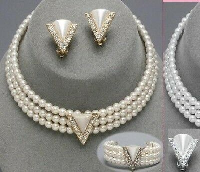 Layered Pearl Beaded Strand Crystal Wedding Evening Necklace Triangle Bracelet
