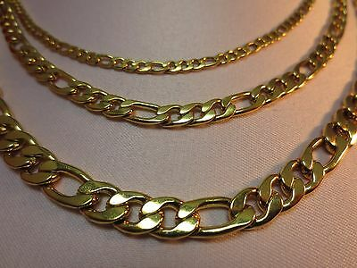 "3/5/7Mm Men's  Women's  Stainless Steel Gold Figaro Rope Chain 16""-60""- Gold"