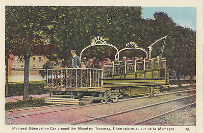 Observation Car Mountain Tramway MONTREAL Quebec Canada 1930-40s PECO Postcard