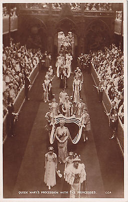 QUEEN MARY & Princesses at King Georges VI Coronation LONDON 1937 Valentine RPPC