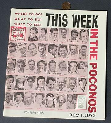 July 1972 Poconos Tourist Guidebook-USAC Race-Unser-Revson-Andretti-Rutherford!