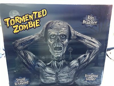 Animated Halloween Zombie Head Ripping Tormented Life Size