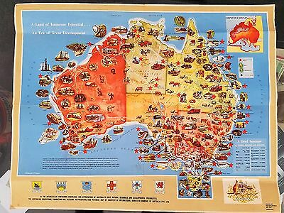 Antique Vintage Australia International Harvester Colour Wall Map Promotion