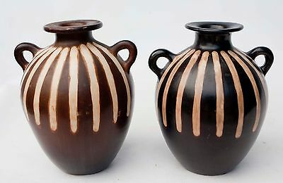 PAIR of decorative collectible Jose Sosa chulucanas Peru 2 handles Pottery Vases