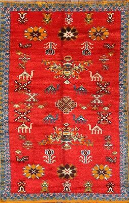 Animal Pictorial Geometric Tribal 5x8 Moroccan Oriental Area Rug Wool Carpet