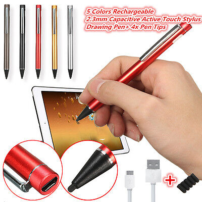 2.3mm Rechargeable Capacitive Active Touch Screen Stylus Drawing Pen +4x Pen Tip