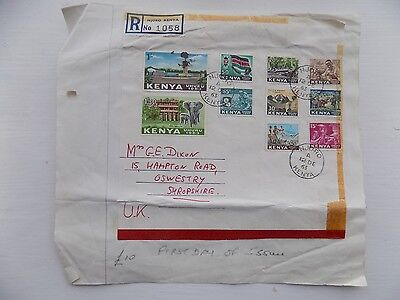 First Day Cover 1963 Registered Envelope Kenya 10 Stamps