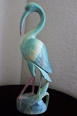 "18"" Ibis On Marsh Painted Hand Carved Wood Tropical Sculpture Bird Decor"