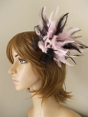 New Black and Light Pink Looped fascinator feathers hair clip & brooch clip