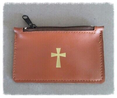 Rosary CASE w/ Cross ~ BROWN pouch for Rosaries PU Leather P118