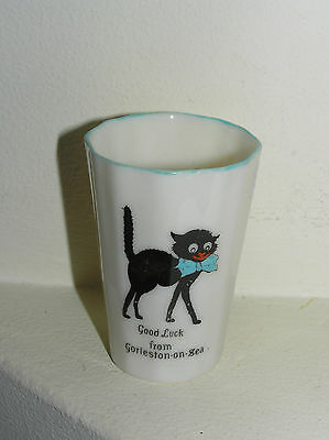 Willow Art Longton China Crested Ware Black Cat Good Luck From Gorleston On Sea