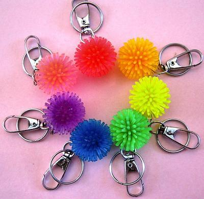 Bulk Lot x 20 Spikey Fluoro Play Ball Keyrings 30mm Kids Party Favor Novelty Toy