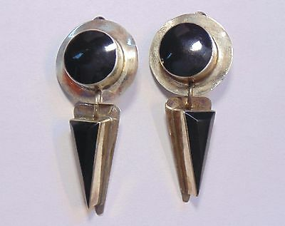 Vintage Mexico 925 Sterling Silver Inlaid Black Onyx Modernist Clip On Earrings