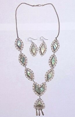 Vintage Mexico 925 Sterling Silver Inlaid Abalone Necklace & Dangle Earrings Set