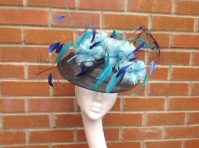 Designer Fascinator Headpiece Hat Black Blue Turquoise Large Ready For Post New