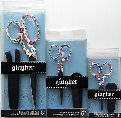 "Limited Edition Gingher ""Julia"" Designer Series SET of Knife Edge Scissors"