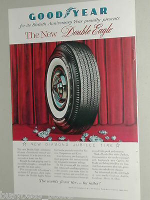 1958 Goodyear Tire advertisement, 60th anniversary, Double Eagle tires, diamonds