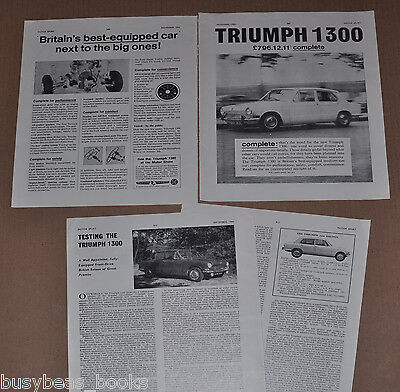 1963-66 TRIUMPH 1300 advertisement, + article, from British magazine