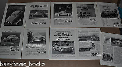 1962-65 VAUXHALL VX 4/90 advertisements x8, + article, from British magazines