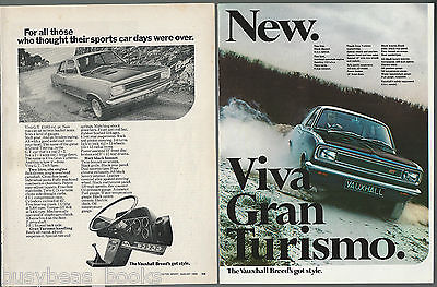 1968 VAUXHALL GT advertisements x2, from British magazines Vauxhall Gran Turismo