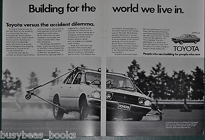 1977 TOYOTA 2-page advertisement, COROLLA, rollover test, European advert