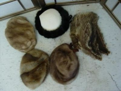 5 Hats Pre-Owned Mink Raccoon Muskrat Faux Fur Hat Lot Sale