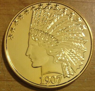 1 Oz  24K Gold Plated Copper Round 1907 Indian $10 Gold Coin Design