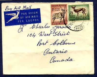 SOUTH AFRICA-1957-Cover sent to Stevensville Ontario-#208,209 Stamps